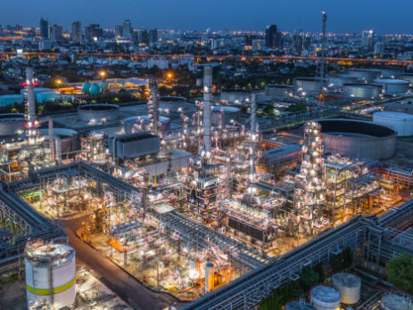 Aerial view of an oil refinery at night
