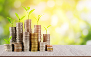 Young plants and coins stacked together, representing investments that make an impact