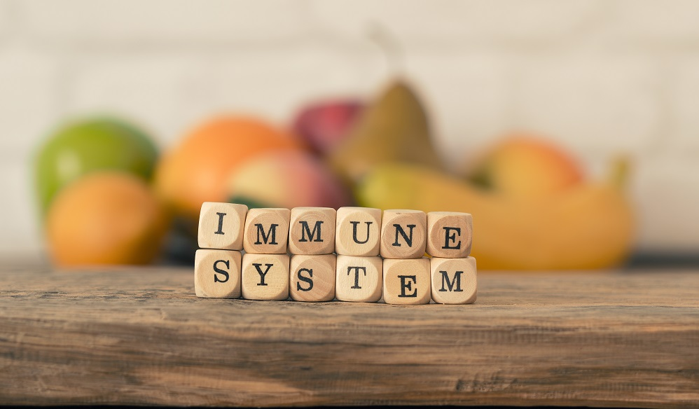 Small wooden blocks with the words immune system and fresh fruits in the background, healthy eating concept